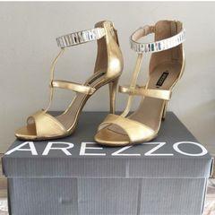 a8169b368 Sandalia Dourada Festa Arezzo | Comprar Sandalia Dourada Festa ...
