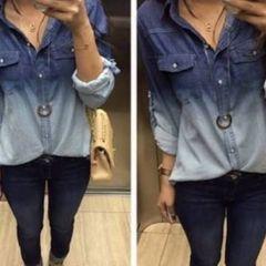 9f3bf077e camisa jeans manga longa feminina