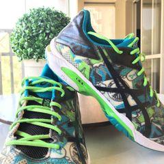 13aa9385bc7 tênis asics gel solution speed 3 edição limitada - verde e azul