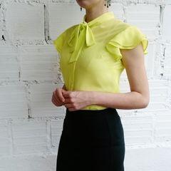 51233ce1ab blusa amarela gola laço e babado duplo