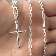 9341c3187 corrente cordão prata maciça 925 bloco 80 cm pingente