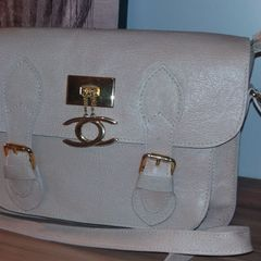 b3dde8318 bolsa carteiro em couro legítimo nude em excelente estado.