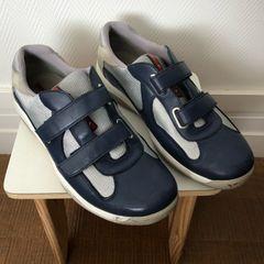 6b985c536 tênis de couro masculino azul marinho prada