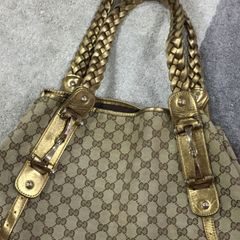 913c58e44628 bolsa Gucci Monogram Canvas GG Logo Brown Braided Medium Pelham Shoulder  Bag Purse