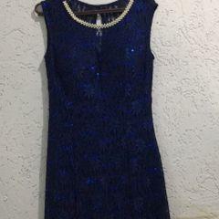 78af4870d Vestido Azul Com Perolas | Comprar Vestido Azul Com Perolas | Enjoei
