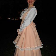 439d33d9f5 vestido de prenda pêssego com saia de armação- roupa típica gaúcha