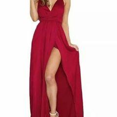 003260101b0 vestido longo vermelho de alcas festa madrinha tamanho m