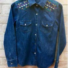 9adb1aec24 camisa feminina jeans bordada na máquina