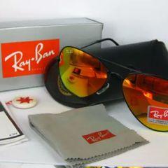 6e0bfdf56 óculos ray ban aviador lente vermelha armação preta novo com acessórios