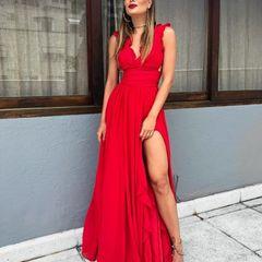 097f3ef31 vestido longo litt fabulous agilita vermelho fenda e decote lindo  maravilhoso crepe seda