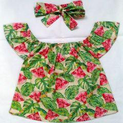 c955600ec2 blusa infantil ciganinha com turbante estampada