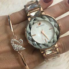 c4b8162a322 relógio swarosvki branco   bracelete swarovski