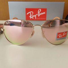 795d01b76 óculos de sol ray ban aviador rosê espelhado novo na caixa com acessórios