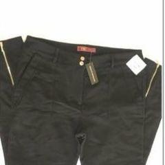 e5a6f34e0 calça preta poliéster ziper na barra yessica city importada - tamanho 44