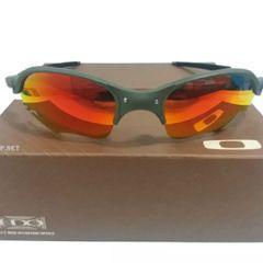 13758056c frete grátis. óculos oakley romeo 2 xmetal lente flame ruby armação cinza  unissex novo