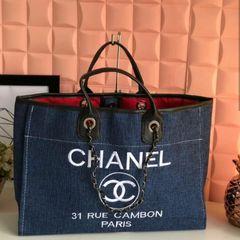 00c35300c bolsa feminina grande chanel deauville azul de lona e couro eco - promoção