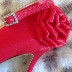 15bee1be45 frete grátis. sapato festa de cetim vermelho