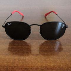 ab66d85f1 frete grátis. óculos de sol ray ban hexagonal edição ferrari, cor preta.