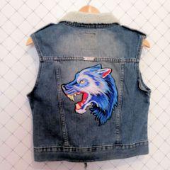 cca3686b29 colete jeans perfecto cropped pêlo aplicação lobo fera