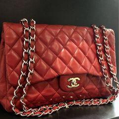 2165b1c00 Bolsa Chanel original Jumbo vermelha 10c lambskin