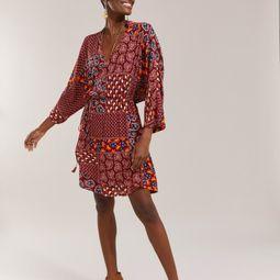 vestido curto kimono estampado paisley vinho pp 51889833