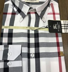 9d2c6c3332 camisa social burberry masculina branca xadrez