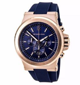 03ba9ac5cfc05 relógio masculino michael kors mk8295 rose azul caixa e manual ns43