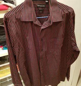 b8d4263317c camisa social manga longa listrada preto e vermelho
