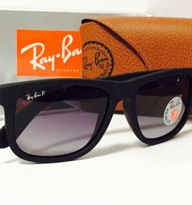 Ray Ban Justin Rb4165 Lentes Polarizado Preto Fosco Fumê   Óculos ... 519e320181