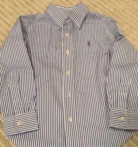 Camisa Polo Manga Comprida Ralph Lauren Listrada Azul E Branca ... 7556b33414f