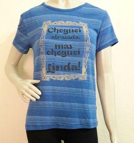 Camiseta Azul Com Frase - Encontre mais belezas mil no site  enjoei ... 26567750804
