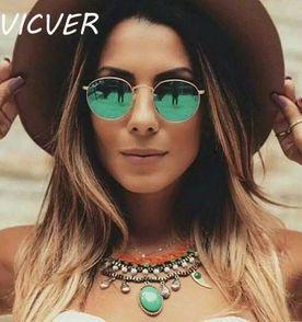 óculos de sol redondo espelhado verde 8dfcc16e71