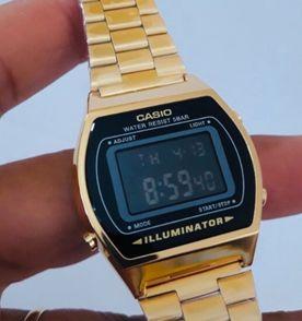 841657c0b8b relógio casio vintage dourado com preto b640