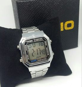8000d24a3f3 relógio aço inoxidável casio retro + caixa