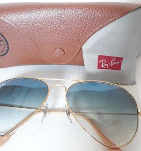Oculos Ray Ban 100 Original Aviador Dourado Lentes Azul Degrade ... 9979e3075c