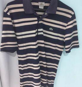 6ce9f4877f7c8 lacoste camisa polo tamanho m listrada azul marinho cinza