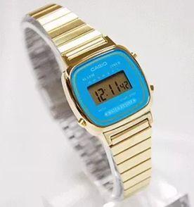 df7659616b7 relógio casio feminino novo original digital dourado azul vintage retrô  pequeno