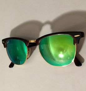 Clubmaster 360 Lente Azul Espelhada   Óculos Feminino Rayban Usado ... 6ba9c9f4d4