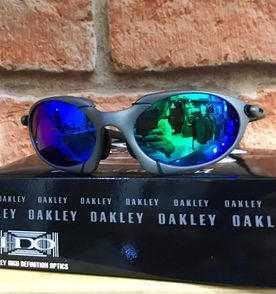 óculos oakley romeo 1 - carbon   azul-verde  borrachinhas pretas cód. do eb22a2b512