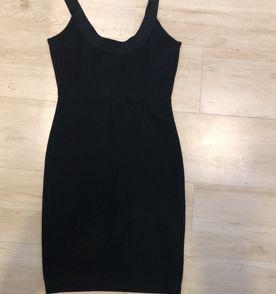 vestido preto midi bcbgmaxazria, bandagem, vestido importado, super  elegante, tamanho p ( ceef3b4878