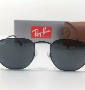 a0b5502fd0c óculos de sol ray ban hexagonal todo preto unissex novo na caixa com kit