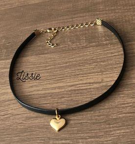 Colar Feminino Corrente Dourada com Pingente Love Coração ... 7fb7a15745