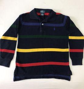 camisa polo manga longa - ralph lauren - tamanho 6 - marinho com listras -  comprada 437eee7eb87