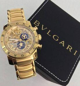 3345af98f3a relógio bvlgari subaqua skeleton dourado prata promoção!