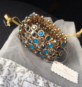 bracelete pulseira camila klein, dourado repleto de cristais swarovski 937c0b1cb3