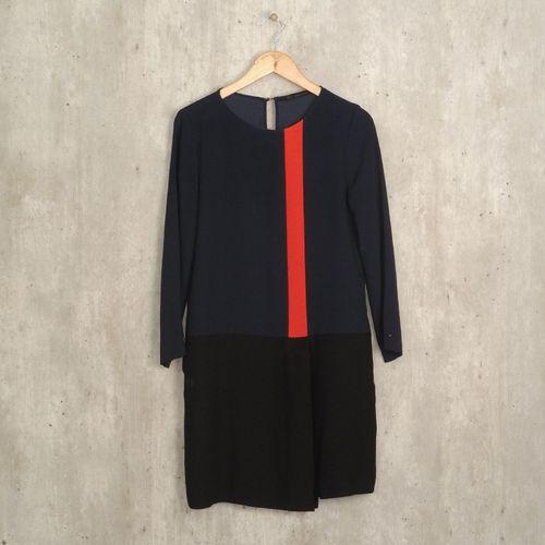 vestido azul zara 44758320