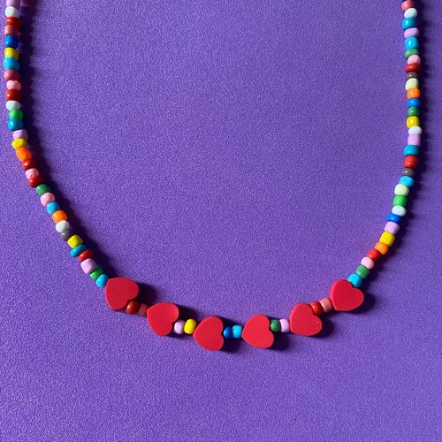 colar coracoes vermelhos 46334145