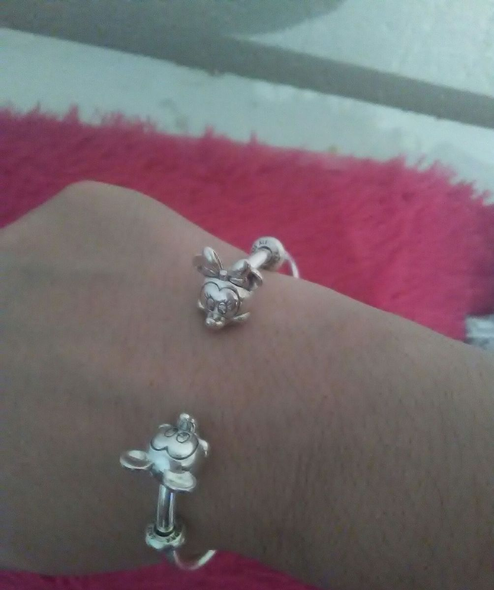 pulseira estilo pandora mickey e minnie - jóias maria-flor-joias