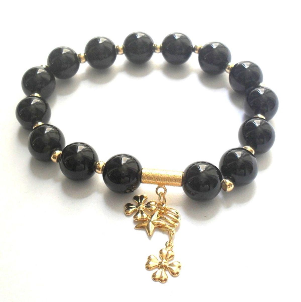 pulseira pedra natural ágata negra - bijoux propria