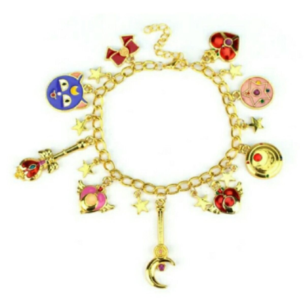 pulseira sailor moon pulseira berloques - bijoux maria-flor-joias